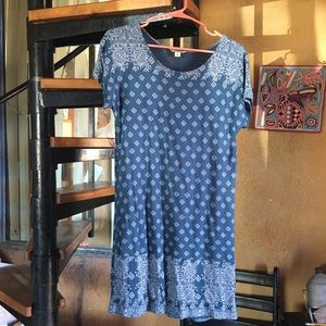 Lucky Brand blue tribal print T-shirt dress